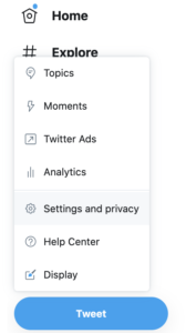 location of settings and privacy